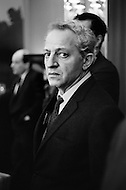 New York City, USA.1968. American actor and director Jules Dassin at a press conference in New York City for exiled Greek political leader Andreas Papandreou. He is married to Greek actress and activist Melina Mercouri.