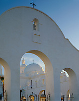 San Xavier Reservation, AZ  <br /> Evening light on finals and arches - San Xavier del Bac Mission