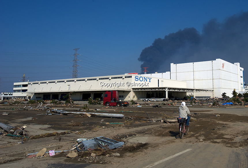 A sony factory in the Sendai port  area full of mud and rubbish after the earthquake and tsunami that swept through the area, Sendai, Japan.  The earthquake, tsunami and nuclear fallout has meant that the March 11th quake was the most expensive natural disaster known to man..13 Mar 2011.