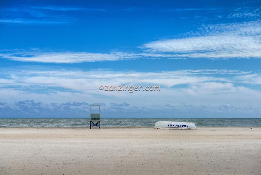 Atlantic City Lifeguard stand, Boat, World-famous Boardwalk, Sand, Resort hotels,  Architecture;  New Jersey; Seaside Resort;