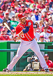 14 April 2013: Washington Nationals pitcher Gio Gonzalez up at bat against the Atlanta Braves at Nationals Park in Washington, DC. The Braves shut out the Nationals 9-0 to sweep their 3-game series. Mandatory Credit: Ed Wolfstein Photo *** RAW (NEF) Image File Available ***