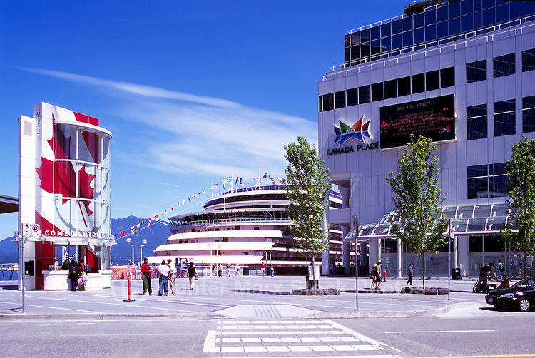 """The New Tourist Welcome Centre and Information Booth and Cruise Ship at """"Canada Place"""" Trade and Convention Centre and Cruise Ship Terminal, Vancouver, British Columbia, Canada"""
