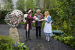 Award winning garden Sculpture David Harber hosts the mad hatters tea party at Chelsea flower Show. <br /> <br /> 18.5.15<br /> Bethany Clarke / RHS