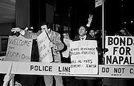 02 Mar 1970, Manhattan, New York City, New York State, USA --- Demonstrators gather in front of the Waldorf-Astoria Hotel, in New York, during a state visit by French President George Pompidou to protest the sale of 100 Mirage fighter jets to the new regime of Colonel Muammar al-Qaddafi in Libya. --- Image by © JP Laffont