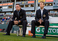 Philadelphia Union head coach Peter Nowak (l) and assistant coach John Hackworth (r). The Philadelphia Union and CD Chivas USA played to 1-1 draw at Home Depot Center stadium in Carson, California on Saturday evening July 3, 2010..