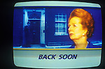 Mrs Margaret Thatcher as seen on ITN news, resignation 22/11/1990. 10 Downing Street background.