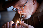 Jim Canady smokes medicinal marijuana delivered by Canny Bus, a nonprofit pot delivery service, to his Livermore, Calif. home January 11, 2011, ..CREDIT: Max Whittaker for The Wall Street Journal.Bay Area - Cannybus