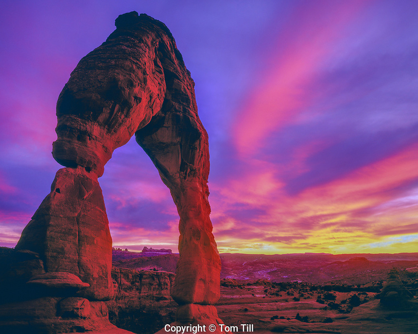 Delicate Arch, Arches National Park, Utah, Sunset clouds, large natural arch, October