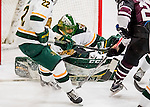 18 December 2016: With a scramble in the crease, University of Vermont Catamount Goaltender Mike Santaguida, a Senior from Mississauga, Ontario, makes a third period save against the Union College Dutchmen at Gutterson Fieldhouse in Burlington, Vermont. The Catamounts fell to their former ECAC hockey rivals 2-1, as the Dutchmen sweep the two-game weekend series. Mandatory Credit: Ed Wolfstein Photo *** RAW (NEF) Image File Available ***