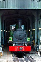Steam locomotive engine Slieve Callan fuelled by turf, preserved by West Clare Railway at Moyasta, County Clare, West of Ireland