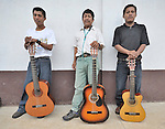 Musicians in the Holy Martyrs Catholic Church (Iglesia Santos Martires) in Victoria 20 de enero, a village of former Guatemalan refugees in Mexico who returned home as a group in 1993, while the country's bloody civil war still raged.