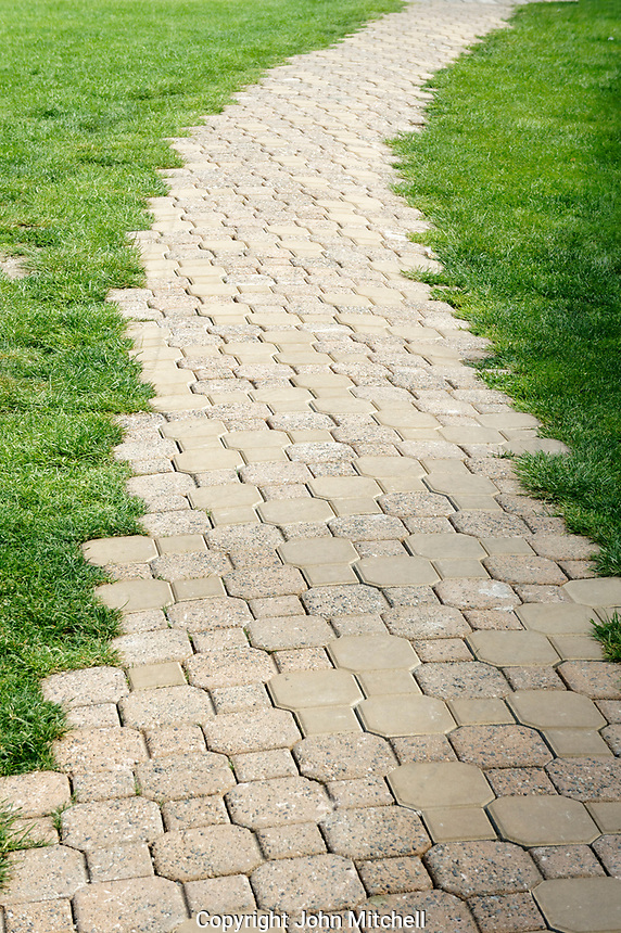 Cut stone pathway stretching into the distance