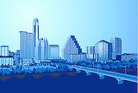 New Austin Skyline illustration graphic at Dusk as Bat Watchers gather on the Congress Avenue Bridge.