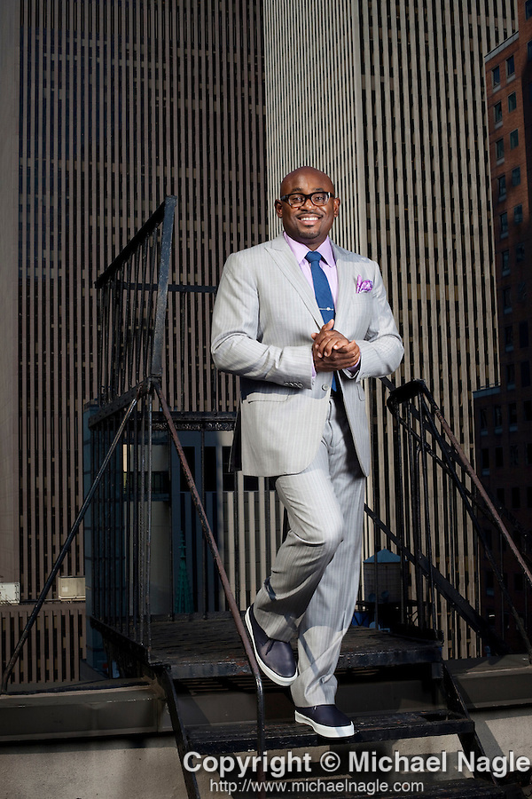 NEW YORK  - AUGUST 5, 2011:  Steve Stoute poses for a portrait in his office on August 05, 2011 in New York City.  (Photo by Michael Nagle)