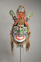 Spirit Mask, 1993, by Beau Dick, made from wood, horse hair, paint, rope and cedar bark, gift of the Collection of Jan and Frederick Mayer, in the Denver Art Museum, Denver, Colorado, USA. Picture by Manuel Cohen