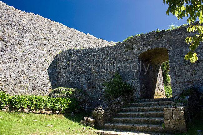 Photo shows the rear gate facing eastward at Nakagusuku Castle ruins in KITA-NAKAGUSUKU VILLAGE, Okinawa Prefecture, Japan, on May 20, 2012. The gate apparently prompted Commodore Perry to compare it to ancient Egyptian architecture. Photographer: Robert Gilhooly