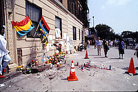 IN ADVANCE FOR 20TH ANNIVERSARY OF CROWN HEIGHTS RIOTS IN BROOKLYN, NY ON AUGUST 19, 1991. Shrine constructed at Utica and Carroll at site of Cato accident,  on August 26, 1991. Cato was the youth accidentally run over by the Lubavitcher Rebbe's auto procession in Crown Heights. (© Richard B. Levine)