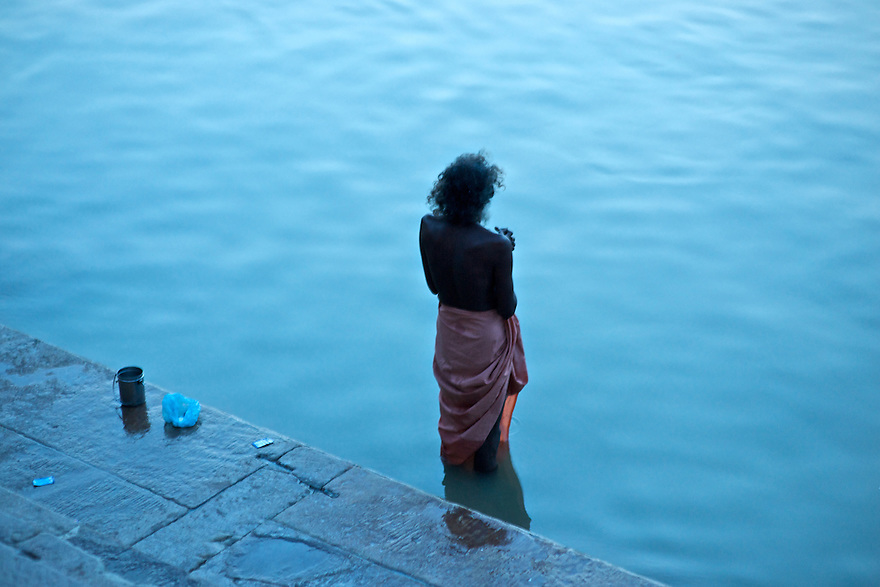 Was standing just along the edge of the ghats along the ganges river