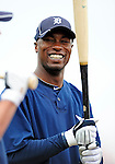 9 March 2010: Detroit Tigers' outfielder Austin Jackson awaits his turn in the batting cage prior to a Spring Training game against the Washington Nationals at Space Coast Stadium in Viera, Florida. The Tigers defeated the Nationals 9-4 in Grapefruit League action. Mandatory Credit: Ed Wolfstein Photo