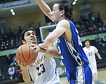 9353<br /> Metlakatla&rsquo;s Trenton Clark works against Petersburg&rsquo;s Wolf Brooks during the Chiefs&rsquo; 46-26 loss to Petersburg in the 2A state championship game Saturday, March 18, 2017.  Photo for the Daily News by Michael Dinneen