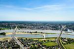 Nederland, Gelderland, Nijmegen, 09-06-2016; de nieuw aangelegde nevengeul van de rivier de Waal, ontstaan door de dijkverlegging bij Lent, gezien naar de binnenstad van Nijmegen. Onderdeel van het project Ruimte voor de River (Ruimte voor de Waal). In de midden de nieuwe brug, Promenadebrug (De Lentloper) naar het eiland eiland Veur Lent.<br /> The finished dike relocation of Lent (project Ruimte voor de Rivier: Room for the River) with the resulting flood trench. In the middle the new Promenade bridge, to the island island Veur Lent. In the background the city of Nijmegen.<br /> luchtfoto (toeslag op standard tarieven);<br /> aerial photo (additional fee required);<br /> copyright foto/photo Siebe Swart