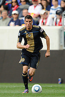 Sebastien Le Toux (9) of the Philadelphia Union. The New York Red Bulls defeated the Philadelphia Union 2-1 during a Major League Soccer (MLS) match at Red Bull Arena in Harrison, NJ, on April 24, 2010.