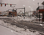Roads in downtown Rehoboth Beach, Delaware, are still passable but starting show the storm's effects Saturday morning, as the February 2010 blizzard begins to build up.