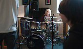 Rehearsals in the music studio,, Summerhill School, Leiston, Suffolk. The school was founded by A.S.Neill in 1921 and is run on democratic lines with each person, adult or child, having an equal say.  You don't have to go to lessons if you don't want to but could play all day.  It gets above average GCSE exam results.