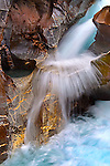 Waterfall in Canyon at the base of Mount Coleman near the Alexandria River Bridge, Alberta - Canada