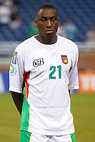 Guadeloupe forward Richard Socrier (21) before the CONCACAF soccer match between Panama and Guadeloupe at Ford Field Detroit, Michigan.