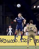 New England Revolution forward Ilija Stolica (9) battle for head ball. The Philadelphia Union defeated New England Revolution, 2-1, at Gillette Stadium on August 28, 2010.