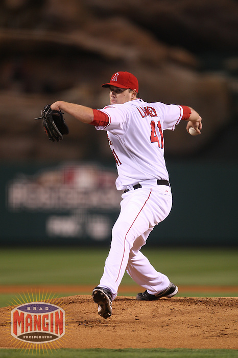 ANAHEIM - OCTOBER 8:  John Lackey of the Los Angeles Angels of Anaheim pitches against the Boston Red Sox during Game 1 of the American League Division Series at Angel Stadium on October 8, 2009 in Anaheim, California. Photo by Brad Mangin