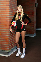 10 August 2010:  #5 Kirby Burnham OH/OPP   on the Pac-10 NCAA College Women's Volleyball team for the USC Trojans Women of Troy photographed at the Galen Center on Campus in Southern California. .Images are for Personal use only.  No Model Release, No Property Release, No Commercial 3rd Party use. .Photo Credit should read: &copy;2010ShellyCastellano.com