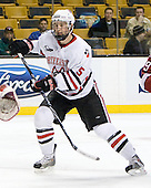 Jake Newton (NU - 5) - The Northeastern University Huskies defeated the Harvard University Crimson 4-1 (EN) on Monday, February 8, 2010, at the TD Garden in Boston, Massachusetts, in the 2010 Beanpot consolation game.