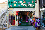 """Flower Power"" shop at Xania Market, Crete, Greece. Hippy fashion clothes shop at Chania's municipal market."