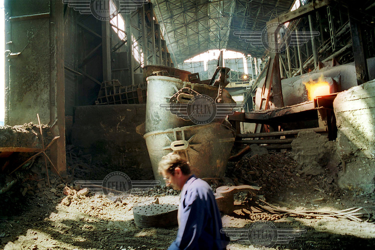 The furnace room at the smelting plant in the mining complex at Bor in Eastern Serbia. It is alleged that this mining complex was involved in the disposal of ethnic Albanian victims of war crimes in Kosovo.