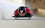 12 December 2006: Lindsay Alcock, from Canada, slides down a straightaway during a training run in preparation for the World Cup Skeleton Competition at the Olympic Sports Complex on Mount Van Hoevenburg  in Lake Placid, New York, USA.&amp;#xA;&amp;#xA;Mandatory Photo credit: Ed Wolfstein Photo<br />