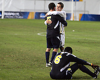 Ben Speas #17 of the University of Akron and Adam Shaw #5 of the University of Michigan after the 2010 College Cup semi-final at Harder Stadium, on December 10 2010, in Santa Barbara, California. Akron won 2-1.
