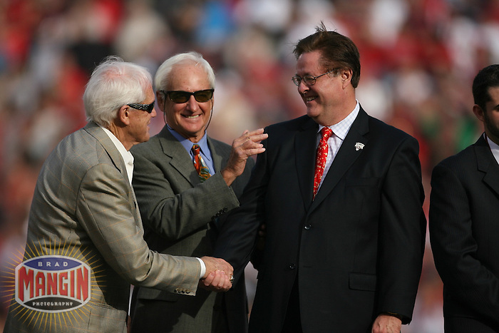Bill Walsh, George Seifert and Dr. John York at Jerry Rice ceremony. Football: Seattle Seahawks vs San Francisco 49ers at Monster Park in San Francisco on November 19, 2006. Photo by Brad Mangin.