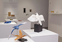 "Surface to Structure origami exhibition at Cooper Union, New York. Gallery view. Turkey Vulture ""Richard"" designed and folded by Robert Lang 2011 (right). Tree Swallow designed and folded by Seth Friedman 2013 (left)."