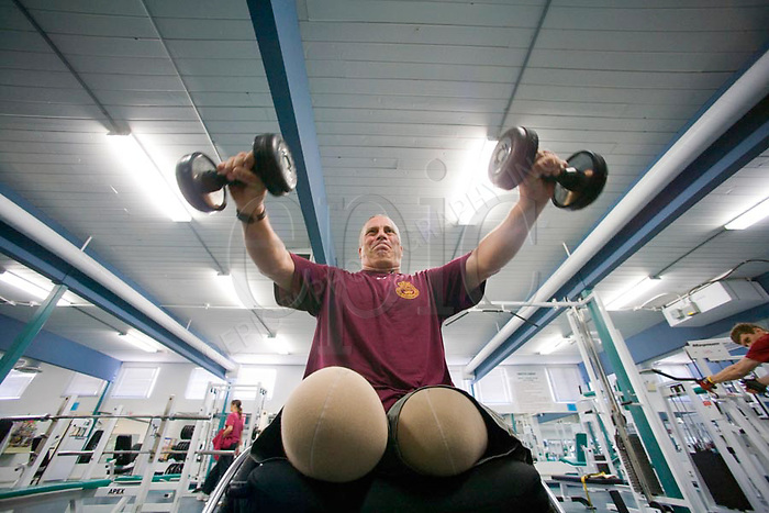 Major Mark Campbell, the most senior soldier to be injured in Afghanistan, develops his work out routine at the CFB Edmonton fitness centre on Tuesday, October 21, 2008.  Major Campbell was leading an operation when an insurgent set off a mine underneath him. It took two hours for soldiers to hike the Major to hospital because they had to fight their way out of the ambush..John Ulan/Epic Photography...