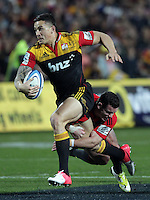 Chiefs' Sonny Bill Williams is tackled by Crusaders' Ryan Crotty in the semi-final Super Rugby match, Waikato Stadium, Hamilton, New Zealand, Friday, July 27, 2012.  Credit:SNPA / David Rowland