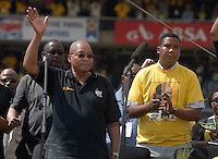Jacob Zuma, on stage with ANC youth leader, Julius Malema (R), at an African National Congress (ANC) election rally held at the Ellis Park Stadium in Johannesburg..