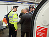 Sadia Khan at London&rsquo;s Night Tube launch at Brixton tube station, London, Great Britain <br /> 19th August 2016 <br /> <br /> British Transport Police Chief Constable Paul Crowther, OBE<br /> talking to Mike Brown MVO Commissioner of Transport for London <br /> <br /> <br /> <br /> <br /> Sadia Khan, mayor of London,  launched the first night tube service and travelled on a tube train between Brixton and Walthamstow on the Victoria Line. <br />  <br /> He launched the first 24 hour Friday and Saturday night services on the Central and Victoria lines <br /> <br /> Photograph by Elliott Franks <br /> Image licensed to Elliott Franks Photography Services