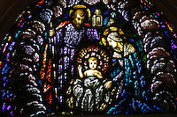A stained glass image is from the National Shrine of the Mary, Help of Christians, known as Holy Hill, in Hubertus, Wis. (Catholic Herald photo by Sam Lucero)