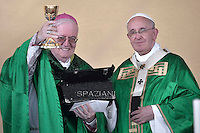 Pope Francis Arcivesco Cesare Nosiglia during  the Holy Mass in Piazza Vittorio in Turin . June 21, 2015