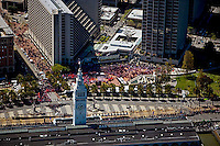 aerial photograph Ferry building Olympic torch relay San Francisco, California