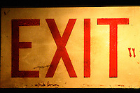 classic exit down emergency sign all lit up