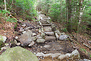 July 2015 - New stone staircase along the Mt Tecumseh Trail in Waterville Valley, New Hampshire. The sloppy state (left side) this newly built staircase has been left in appears to be considered finished stonework. And it remains like this in July 2016.