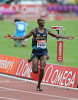 Mo Farah of Great Britain wins the Mens 3000m race at the Sainsbury Anniversary Games, Olympic Stadium, London England, Saturday 27th July 2013-Copyright owned by Jeff Thomas Photography-www.jaypics.photoshelter.com-07837 386244. No pictures must be copied or downloaded without the authorisation of the copyright owner.